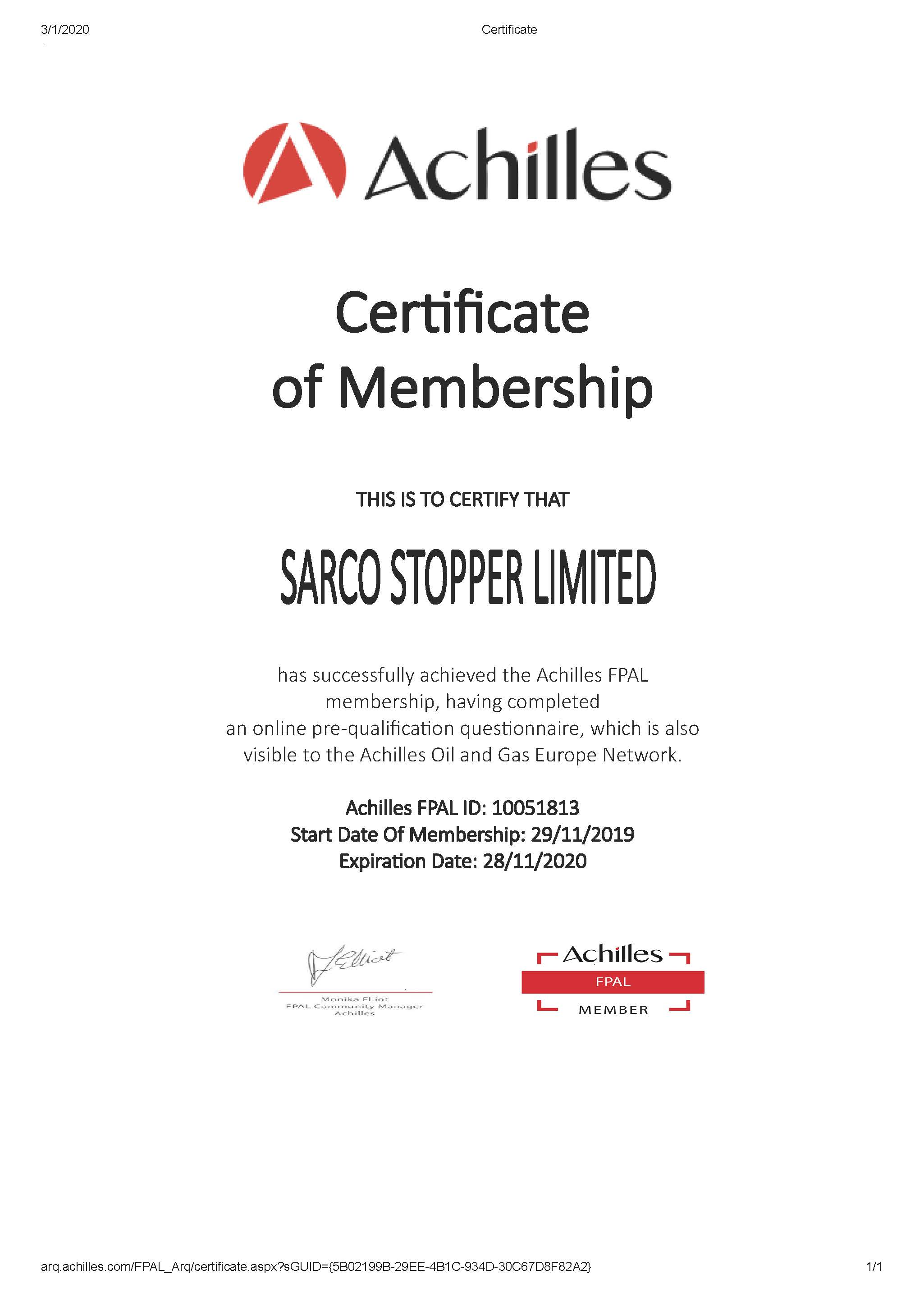 2020 Sarco Stopper FPAL Certificate
